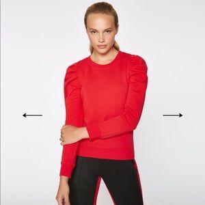 Pam & gela Sz m puff sleeve sweatshirt red luxe